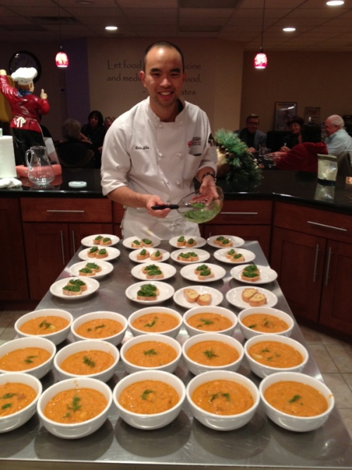Our grad Colin Zhu serving up omega-rich food at WellBeingMD Center